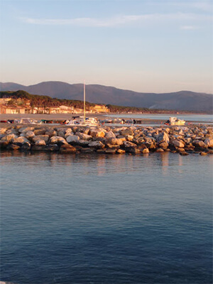 Follonica at sunset from the rocks